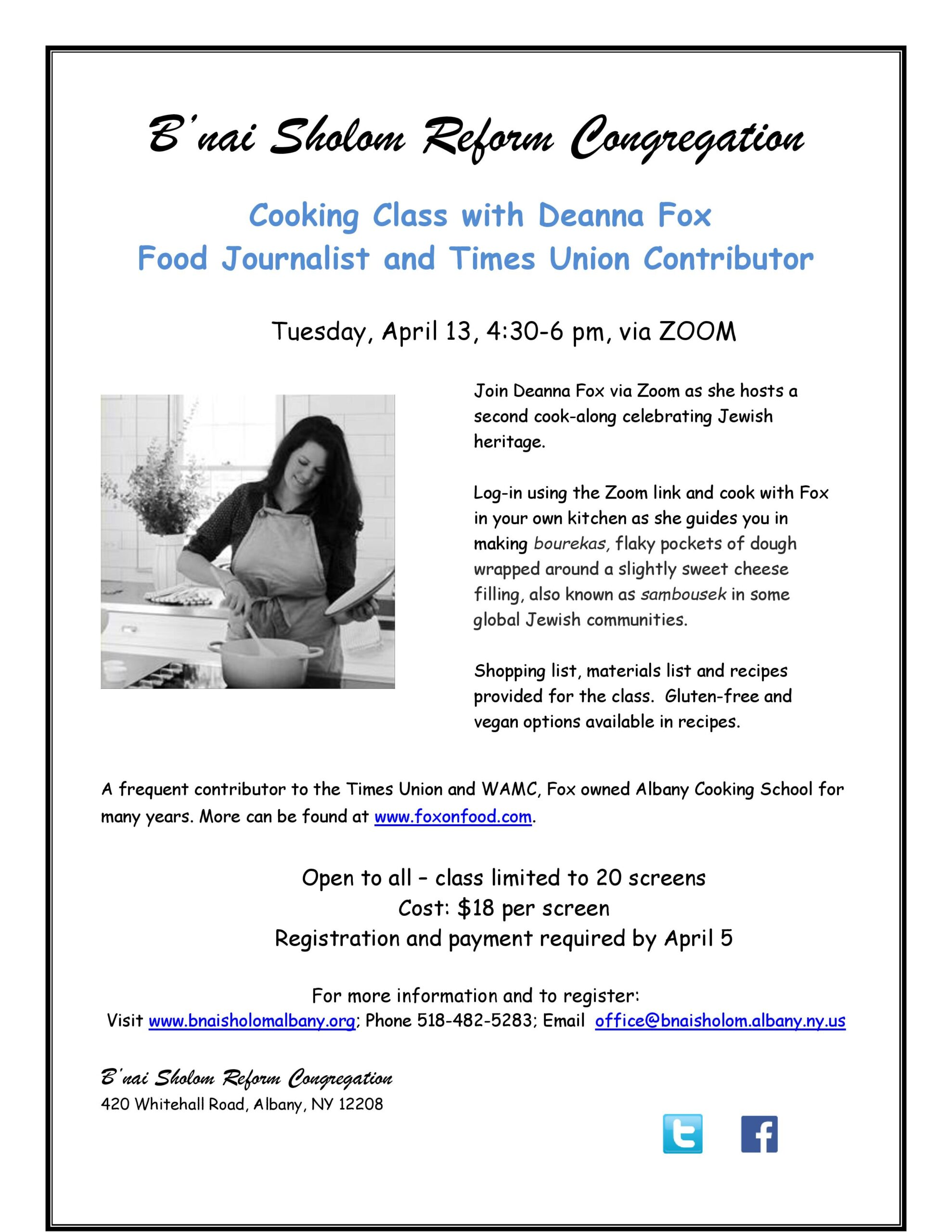 flyer for Deanna Fox cooking class April 13