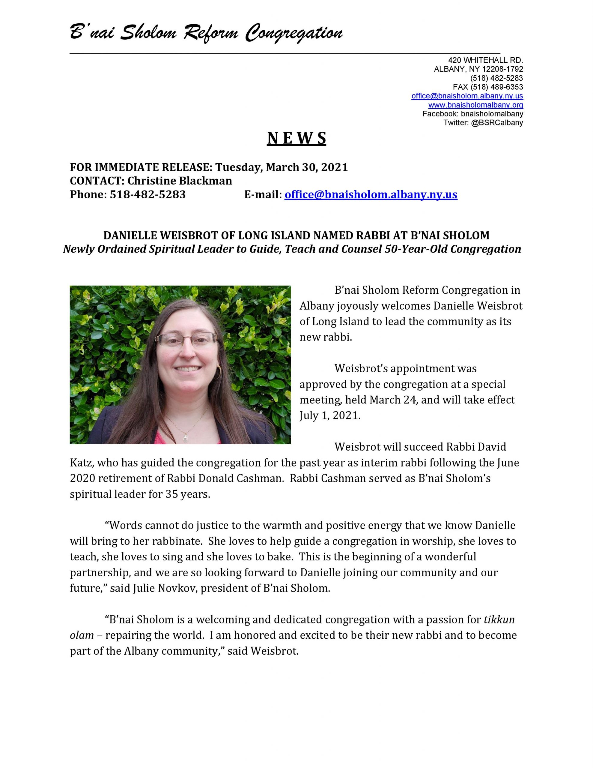 Press Release Annoucing Danielle Weisbrot as new Rabbi