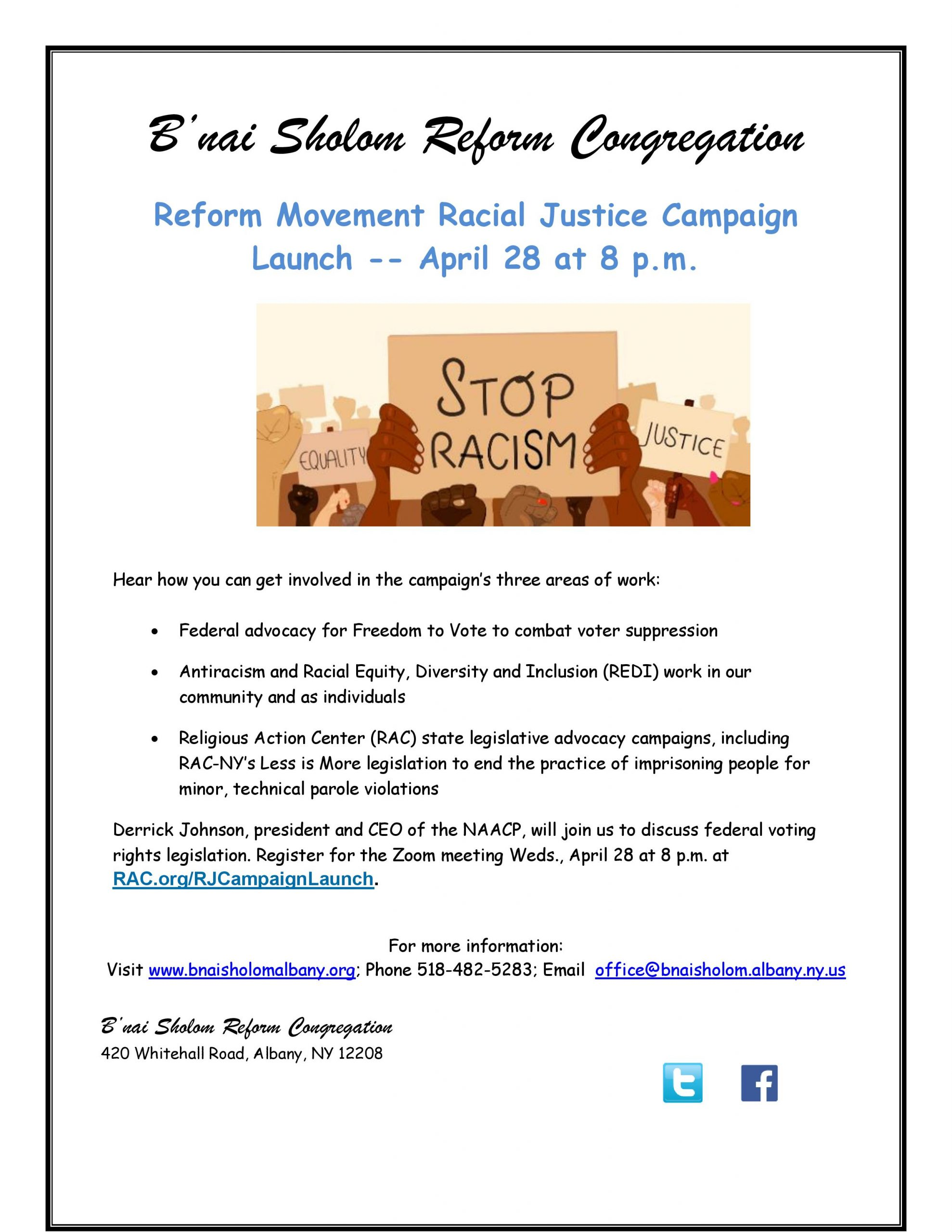 Reform Movement Racial Justice Campaign Lauch